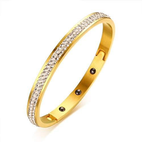 - Energy Magnetic Bracelets | Women's Health Hematite Bracelets | Crystal Rose Gold-Color Stainless Steel Bracelets | for Women