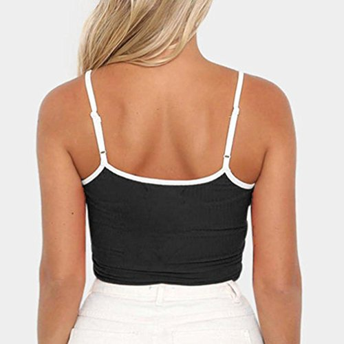 dbbba7f81a2aa Qisc Women s Spaghetti Strap Tank Top Crop Cami Bra Boho Tank Bustier Vest  Shirt at Amazon Women s Clothing store