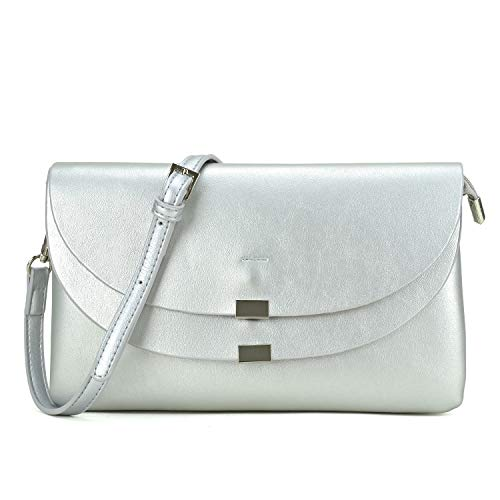 Clutch Purse Mini Handbag Body Cross Shoulder Bag Womens Ipad Multi Wristlet Silver Soft Compartment qffTI