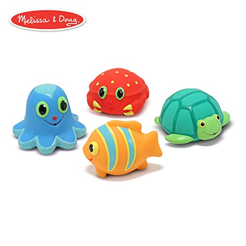 Melissa & Doug Sunny Patch Seaside Sidekicks Squirters With 4 Squeeze-and-Squirt Animals - Water Toys for Kids]()