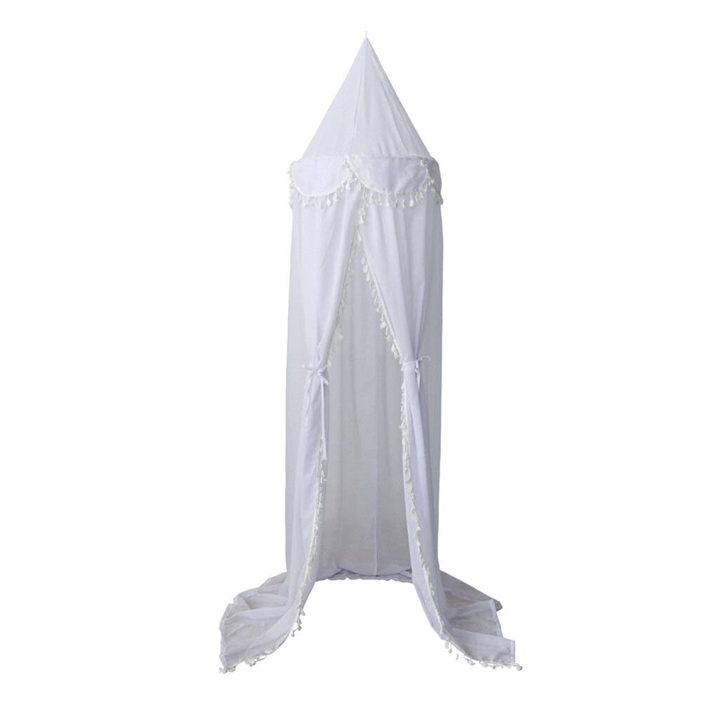 Mosquito Net - 240cm Kids Baby Room Bed Curtain Canopy Pointed Tassel Chiffon Hung Home Textile