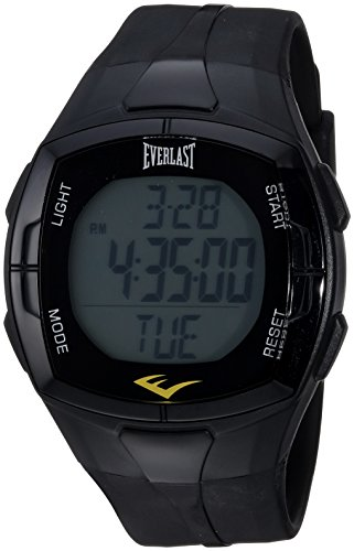 Price comparison product image Everlast Automatic Plastic and Rubber Fitness Watch, Color:Black (Model: EVWHR002BK)