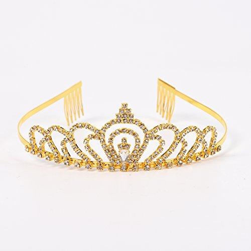 Gold Costume princess crown With Comb Pin For Girls & Women Crystal Bridal wedding (Royal Wedding Dress Halloween Costume)
