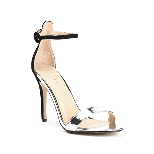 Ideal Shoes, Damen Sandalen Silber