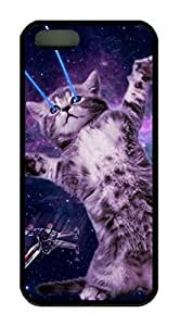 Galaxy Space Hipster Cat Theme Case for IPhone 4 4S Rubber Material Black by Maris's Diary