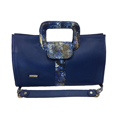 Gaspy Elena Women's Formal Evening Handbag (Blue, Smooth Leather with Folia) by Gaspy
