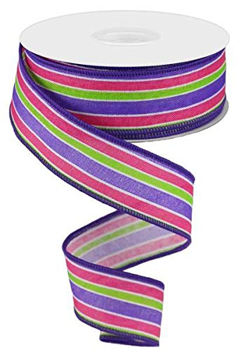 Spring Easter Stripe Wired Edge Ribbon | Purple Lime Pink (1.5 Inches x 10 Yards) ()