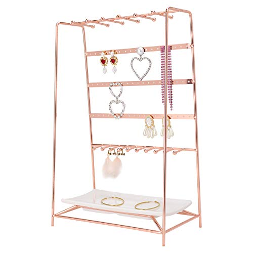 MORIGEM Jewelry Organizer, 5 Tier Jewelry Stand, Decorative Jewelry Holder Display with White Tray for Necklaces, Bracelets, Earrings & Rings, Rose Gold (Earring Holder)
