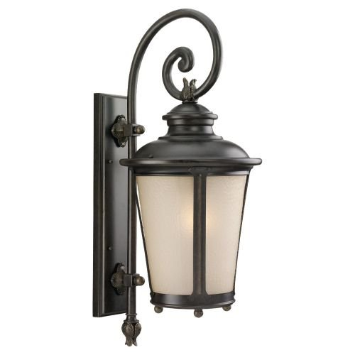 - Sea Gull Lighting 88242-780 Outdoor Sconce with Etched Hammered with Light AmberGlass Shades, Burled Iron Finish