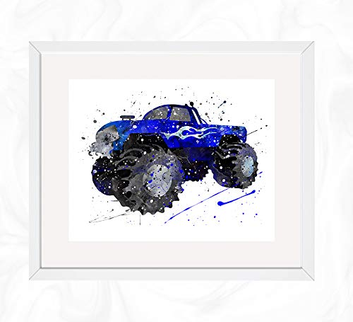 Monster Truck Prints, Vehicles Watercolor, Nursery Wall Poster, Holiday Gift, Kids and Children Artworks, Digital Illustration Art