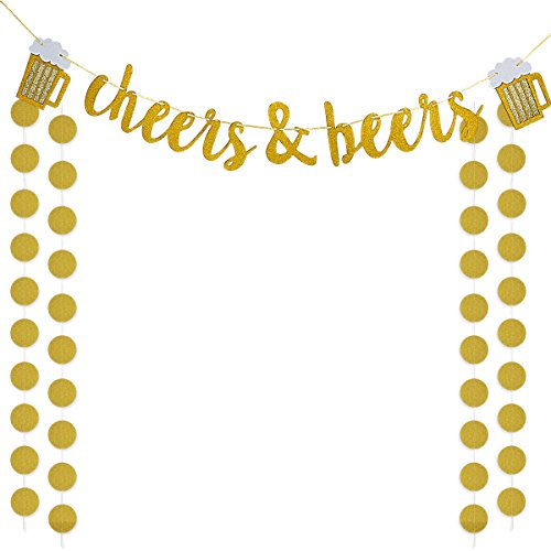Gold Glittery Cheers & Beers Banner and Gold Glittery Circle Dots Garland (25Pcs Circle Dots),Bachelorette Baby Shower Graduation Wedding Hawaii Birthday Party Decoration Supplies -