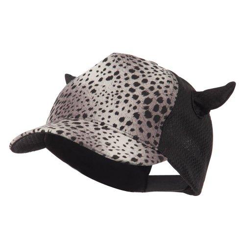 Animal Print Horn Cap with Mesh Back - Grey OSFM