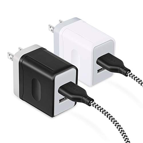 Dual USB Wall Charger, OKRAY 2 Pack 3A USB Android Wall Plug Travel Charger Adapter with 2 Pack 6 Feet Braided Micro USB Charging Cable Compatible for Samsung Galaxy S7/S6 Edge, Android (White Black)