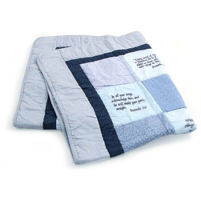 Bible Verse Baby Quilt - Beautiful Cotton Blanket Embroidered with Scriptures - Unique Christian Gifts for Baptism or Baby Shower - ()