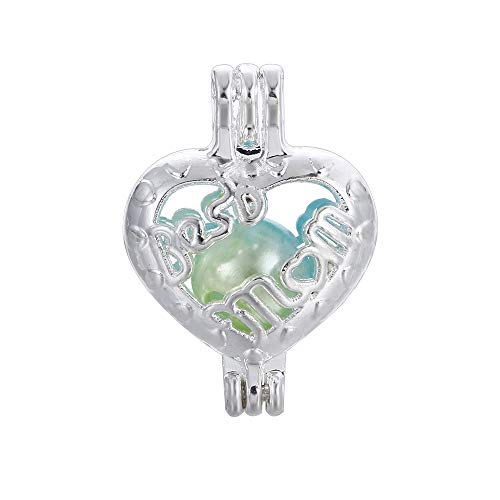 10pcs Best Mom Heart Pearl Cage Bright Silver Beads Cage Locket Pendant Jewelry Making--For Oyster Pearls, Essential Oil Diffuser, Mothers Day Gifts (Best Mom)