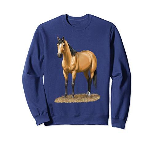 Beautiful Buckskin Dun Quarter Horse Stallion Horse Lovers Sweatshirt ()