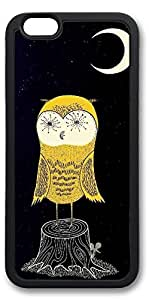iPhone 6 Cases, Personalized Custom Soft TPU Black Edge Case Cover for New iPhone 6 4.7 inch Yellow Owl