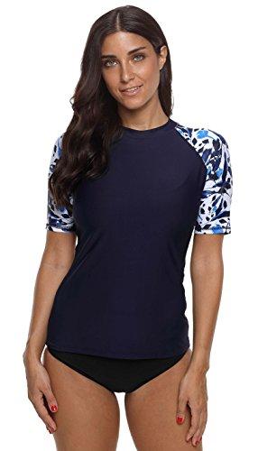 (belamo Swim Shirts for Women Rash Guard Short Sleeve Sun Protection Clothing XL )