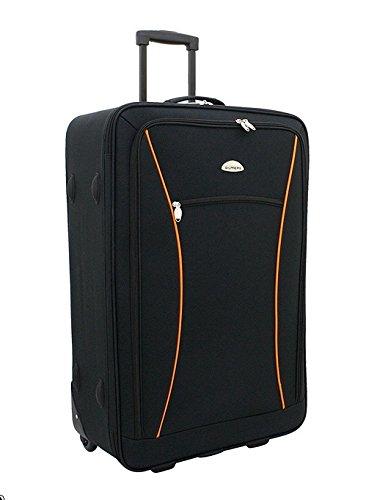 Stoff Koffer Reiseset Gilmers 4tlg Farbe schwarz orangeTrolley Tasche Case Fa. Bowatex