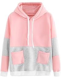 Womens Long Sleeve Colorblock Pullover Sweatshirt Fleece Hoodie