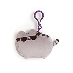 "GUND Pusheen with Sunglasses Cat Plush Stuffed Animal Backpack Clip, Gray, 4.5"""