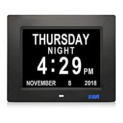 SSA 5 Alarm Options Day Clock Battery Backup Extra Large Impaired Vision Digital Days Clock Non-Abbreviated Day and Month Ideal for Memory Loss Elderly Seniors, 8 Inch