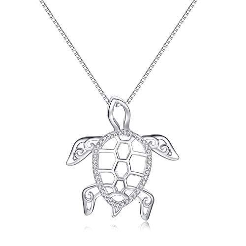 925 Sterling Silver Cute Tortoise Turtle Long Pendant Necklaces Fine Jewelry for Women Girls (Silver Turtle) ()