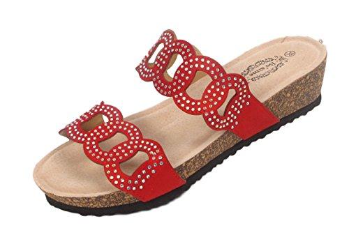 Ladies Flat Summer Sandals Summer Flatforms Open Toe Diamante Womens Shoe Size Red