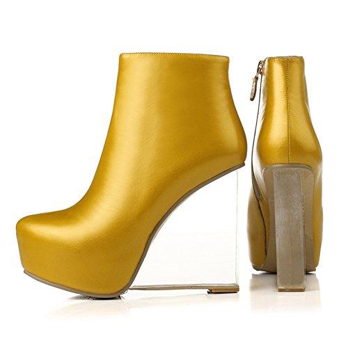 Seven Platform Nine Womens Yellow Ankle Wedge Heel Genuine Leather Boot SBWgZF6