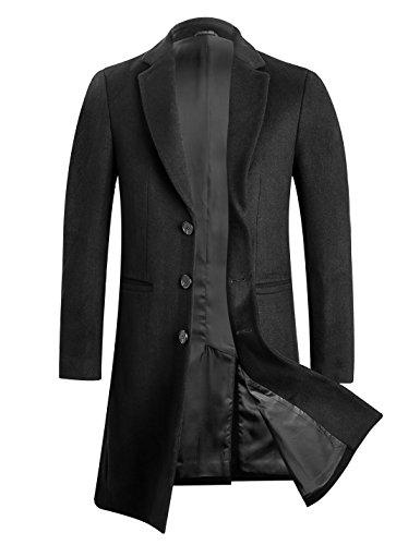 APTRO Men's Wool Coat Long Fashion Slim Fit Overcoat Jacket 1701 Black M