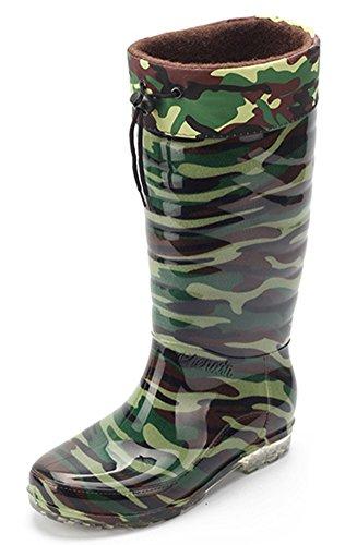 Idifu Heren Antislip Camouflage Warme Fleece Voering Kniehoge Regenlaarzen Wellington Schoenen Groen