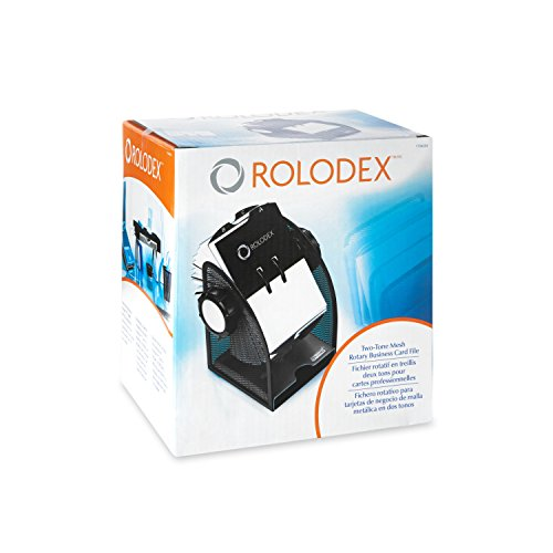 Rolodex Two-Tone Mesh Rotary Business Card File, 200-Card, Black and Silver (1734234) Photo #3