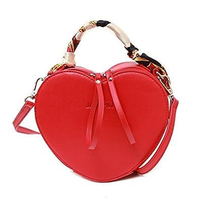 Elfjoy Women's Fashion Heart-Shaped PU Leather Handbag Crossbody Shoulder Bag with Silk Ribbon