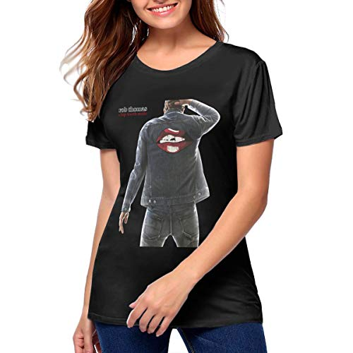 Nathalie R Salmeron Rob Thomas Chip Tooth Smile Womens Short Sleeve Crewneck T-Shirt L Black