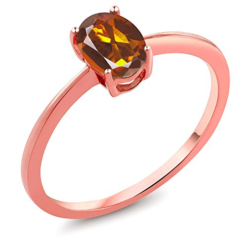 - 0.70 Ct Oval Orange Red Madeira Citrine 10K Rose Gold Ring (Size 7)