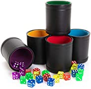Game Night Pack, Assorted Colors - 5 Professional Shaker Cups with Velvet Felt-Lined Interior, Quality Bicast