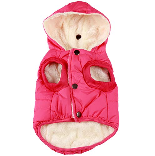 vecomfy Fleece and Cotton Lining Extra Warm Dog Hoodie in Winter for Small Dogs Jacket Puppy Coats with Hooded Pink M (Warm Dog Coats Medium)