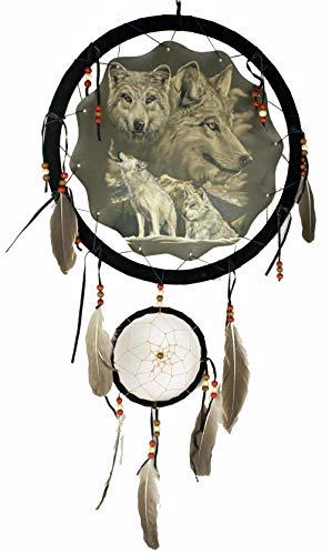 OBI Decorative Dream Catcher White Wolves Print - Handmade Home Decor Living Room, Bedroom Doors Feathers A Large Printed Fabric Wildlife Inspired Images - 13