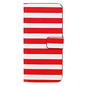 Cross Stripe Pattern Full Body Pu Leather Case with Stand and Wallet for iPhone 5C , Red