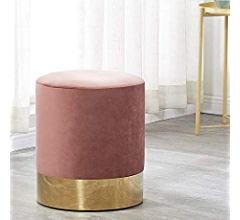 LIFA LIVING Footstools Velvet Pouffe with Gold Metal Rim Light Grey 30x38 cm Modern Round Ottoman Upholstered Dressing Pouf Foot Stool Poofe Chair Rest for Living Room Office /& Bedroom
