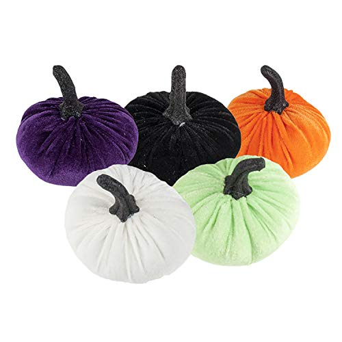 (Clever Home Fall Harvest Decorative Multi Color Velvet Pumpkins with Stem - Set of 5 (Multi)
