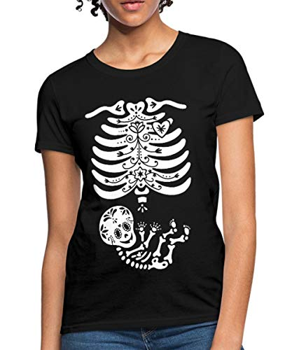 Spreadshirt Skeleton X Ray Sugar Skull Baby Women's T-Shirt, L (Size 12-14), Black ()