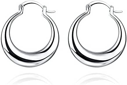 Fashion Platinum Plated Stainless Steel Round Hoop Earrings Women-Alan M.Arevalo