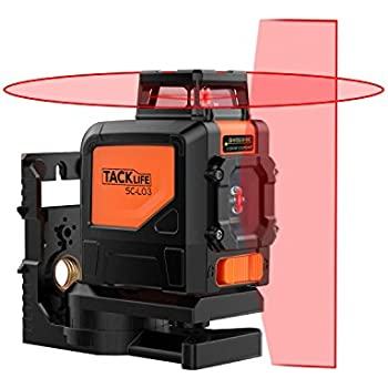 Tacklife SC-L03 Professional Cross Line Laser 98Ft Self-Leveling 360-Degree Horizontal Line and Vertical Line Laser Level with Magnetic Pivoting Base,Carrying Pouch,2 Full-time Pulse Modes Battery Inc