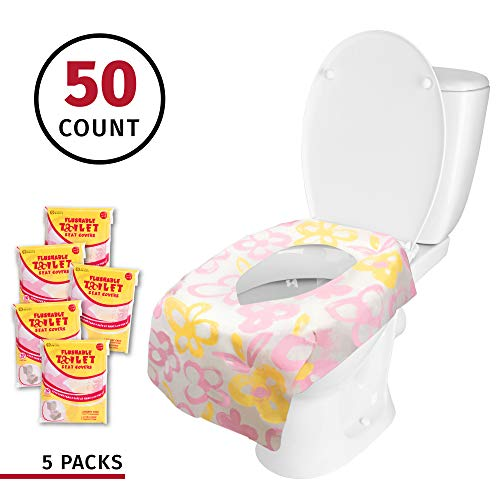 Banana Basics Flushable Disposable Toilet Seat Cover (5 Packs, 10 Each) Kid-Friendly, X-Large Coverage | Promotes Proper Hygiene, Cleanliness | Reduce Germs, Messes | (Flowers, 50 Pack)
