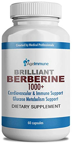 Berberine 1000mg Supplement Complex for Blood Sugar Support, Blood Pressure, Cholesterol and Weight Management - Professional Grade Premium Herb, 60 Capsules