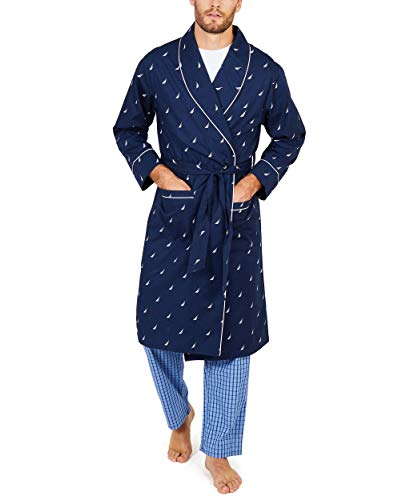 Nautica Men's Nautica Men's Long Sleeve Lightweight Cotton Woven Robe, Peacoat, Large/X-Large