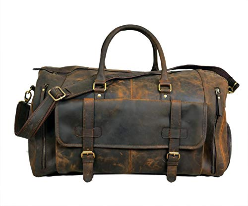 24 Inch Genuine Leather Duffel | Travel Overnight Weekend Leather Bag | Sports Gym Duffel for Men (vintage brown)