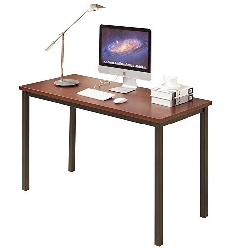 Cheap CUBOC 55″ Large Size Modern Computer Desk Long Office Desk Writing Desk, Workstation Table for Home Office, Teak