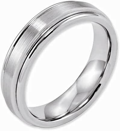 Cobalt Satin And Polished Ridged Edge 6mm Band, Best Quality Free Gift Box Satisfaction Guaranteed